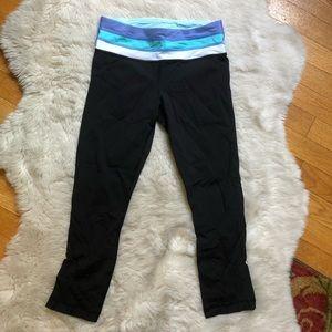 Lululemon Blue/White/Periwinkle Crop Black Pants